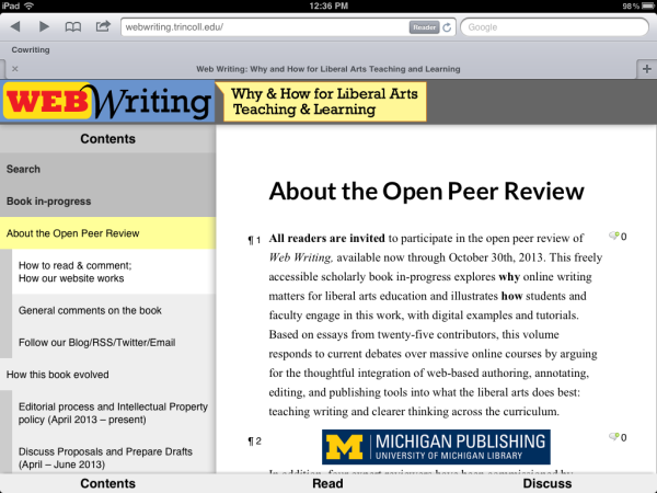 How the responsive Web Writing theme appears on the iPad. Note the navigation buttons -- Contents, Read, Discuss -- along the bottom.