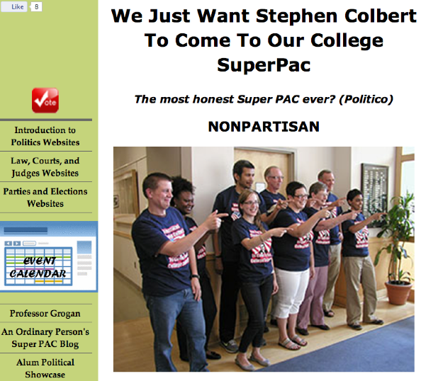 "Click to view the ""We Just Want Stephen Colbert. . ."" website in a new tab/window."