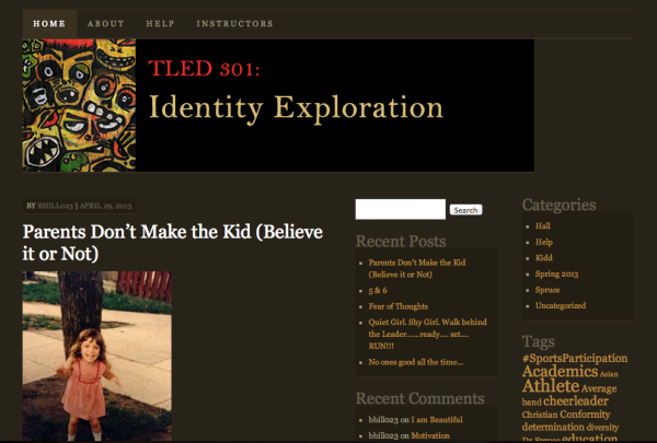 Click to view TLED 301: Identity Exploration course blog in a new tab/window.