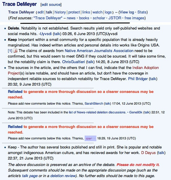 "Click to view original ""Talk"" page on Trace DeMeyer, Wikipedia, 2013."