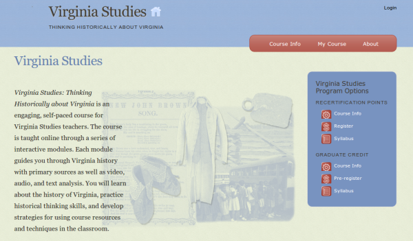 Click to view Virginia Studies course site in new tab/window.