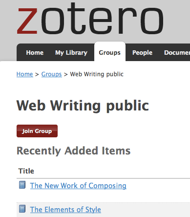 Join the Group to share your citations in the Web Writing Zotero library.