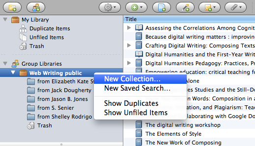 Right-click the Zotero group library to add a new collection for your shared items.