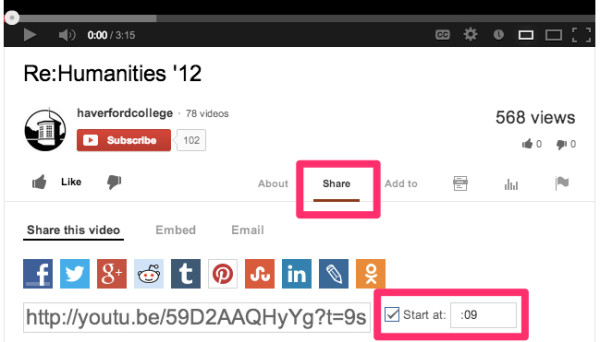 "Illustration of the ""Share"" and ""Start time"" features in YouTube."