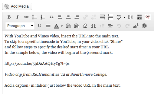 Illustration of how to paste YouTube URL directly into WordPress editor.