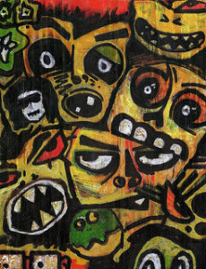 A variety of mask like faces painted on a black background. The faces are oddly distorted, emphasizing eyes and teeth, and primarily colored yellow with green and red accents.