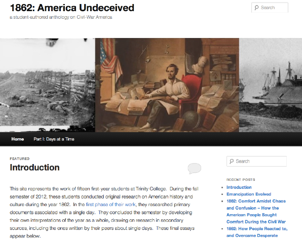 "Click to view the student-authored anthology, ""1862: American Undeceived,"" in a new tab/window."