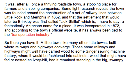 """Rachel links to Brinkley's city website to emphasize that fact that the town has always been dependent upon transportation infrastructure that primarily serves other cities. The website's banner describes the town's location as """"Highway 40 between Memphis and Little Rock."""" Click to read in new tab/window."""