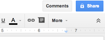 Google Doc share button.