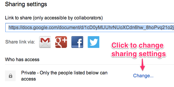 Google Doc sharing settings.