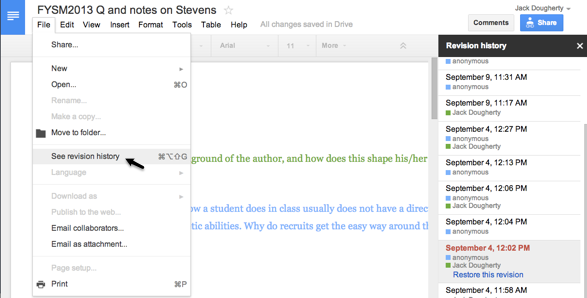 In Google Docs, select File > Revision History to view changes by author in colored text.